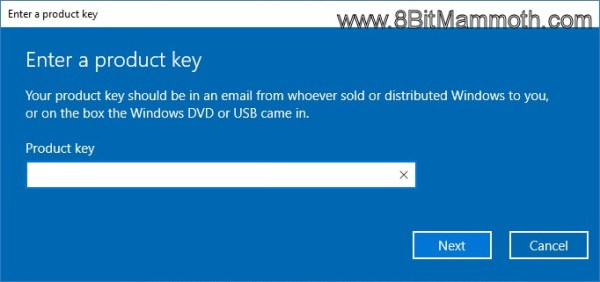 Enter a product key