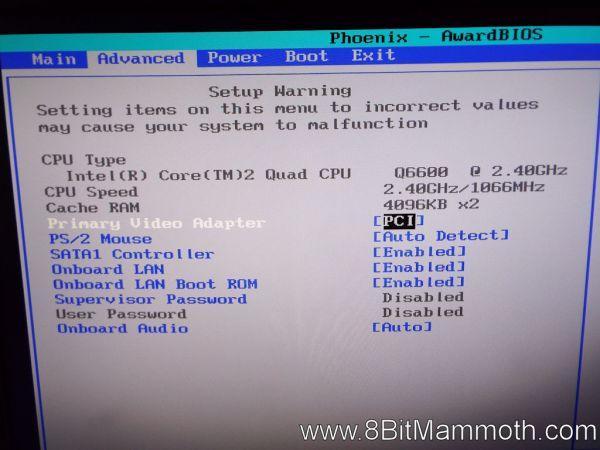 Q6600 CPU Phoenix AwardBIOS