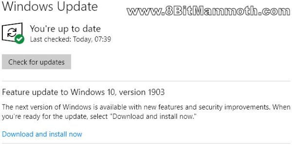feature update version 1903