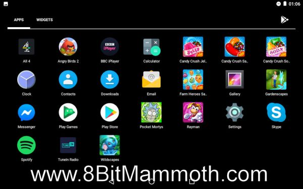 Apps on a Nexus 7 tablet