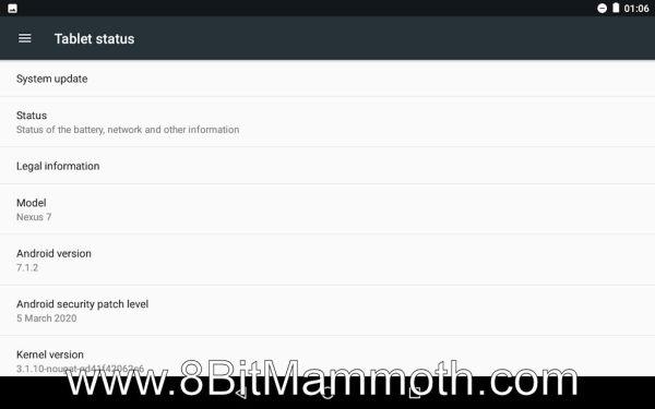 Nexus 7 tablet status