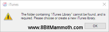 iTunes library cannot be found