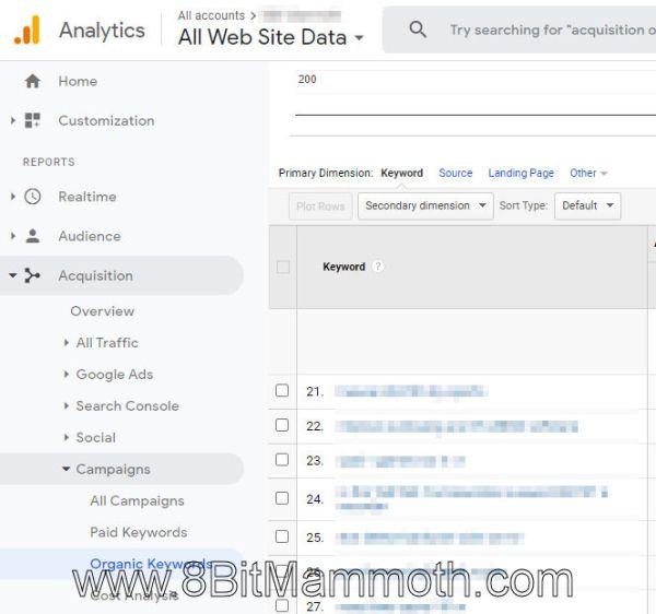 Google Analytics Organic Keywords