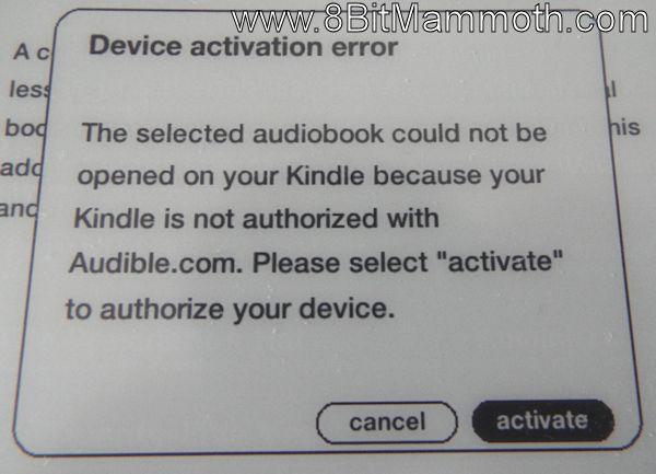 Kindle 3 Device activation error