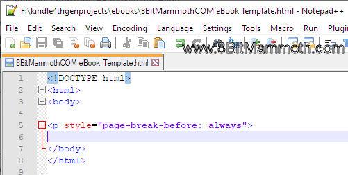 Notepad++ HTML page break