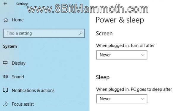 Power & sleep options in Windows 10