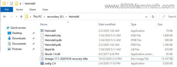 A screenshot of File Explorer showing Heimdall files and a G900T recovery image