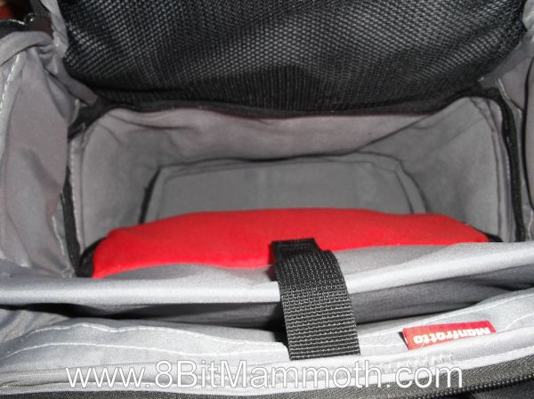 A photo showing the inside of a Manfrotto backpack
