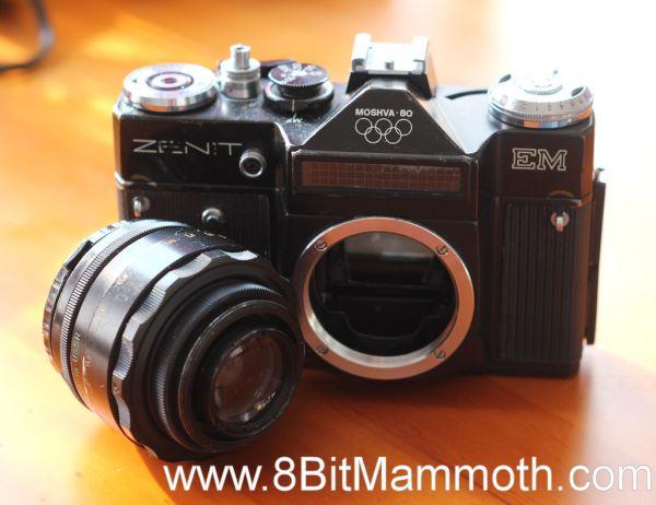 A photo of a Zenit EM camera with a Helios 44-2 lens