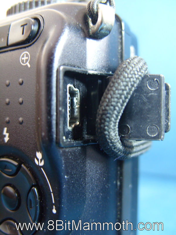 A photo showing a port on a camera.