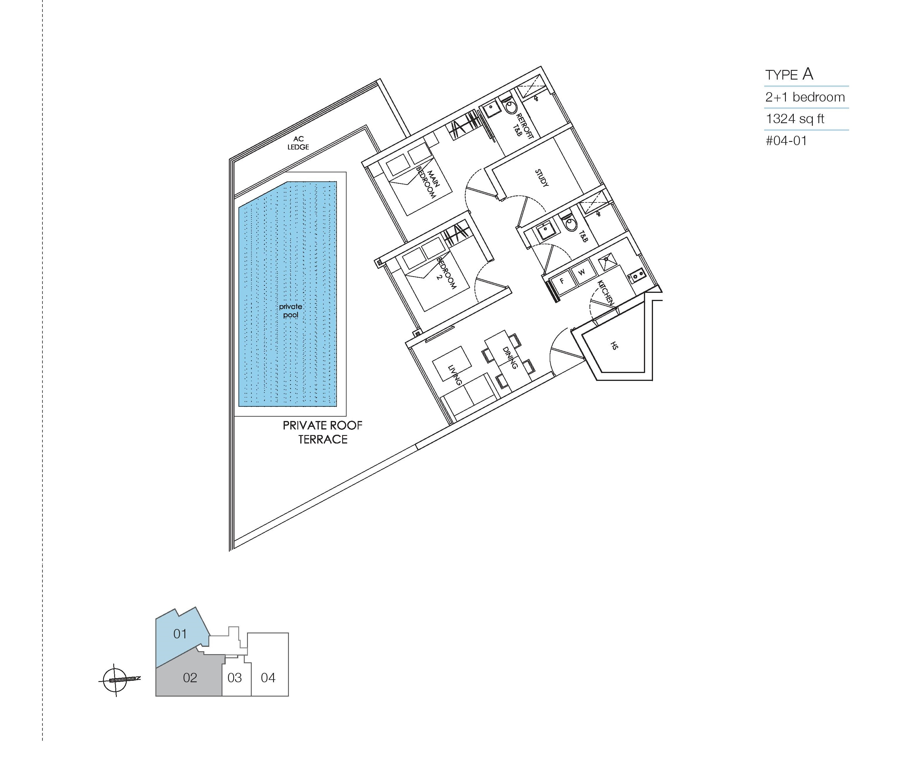 8M Residences 2 Bedroom + Study Roof Type A Floor Plans