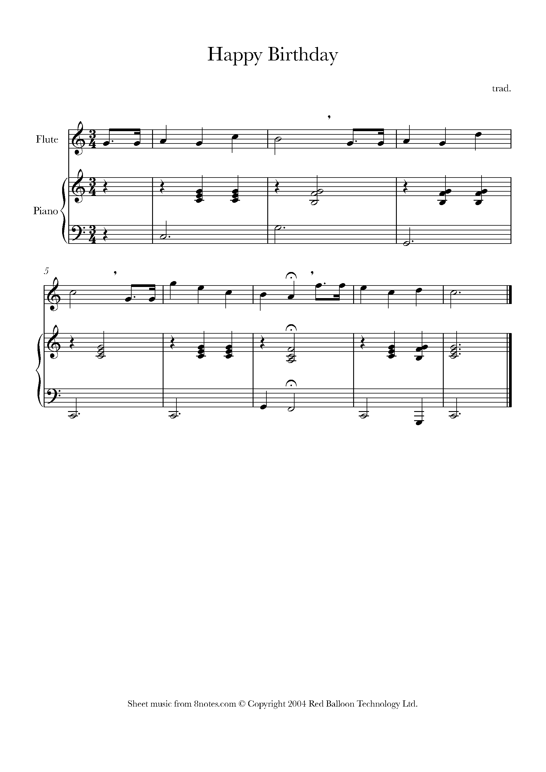 Happy Birthday Sheet Music For Flute 8notes Com