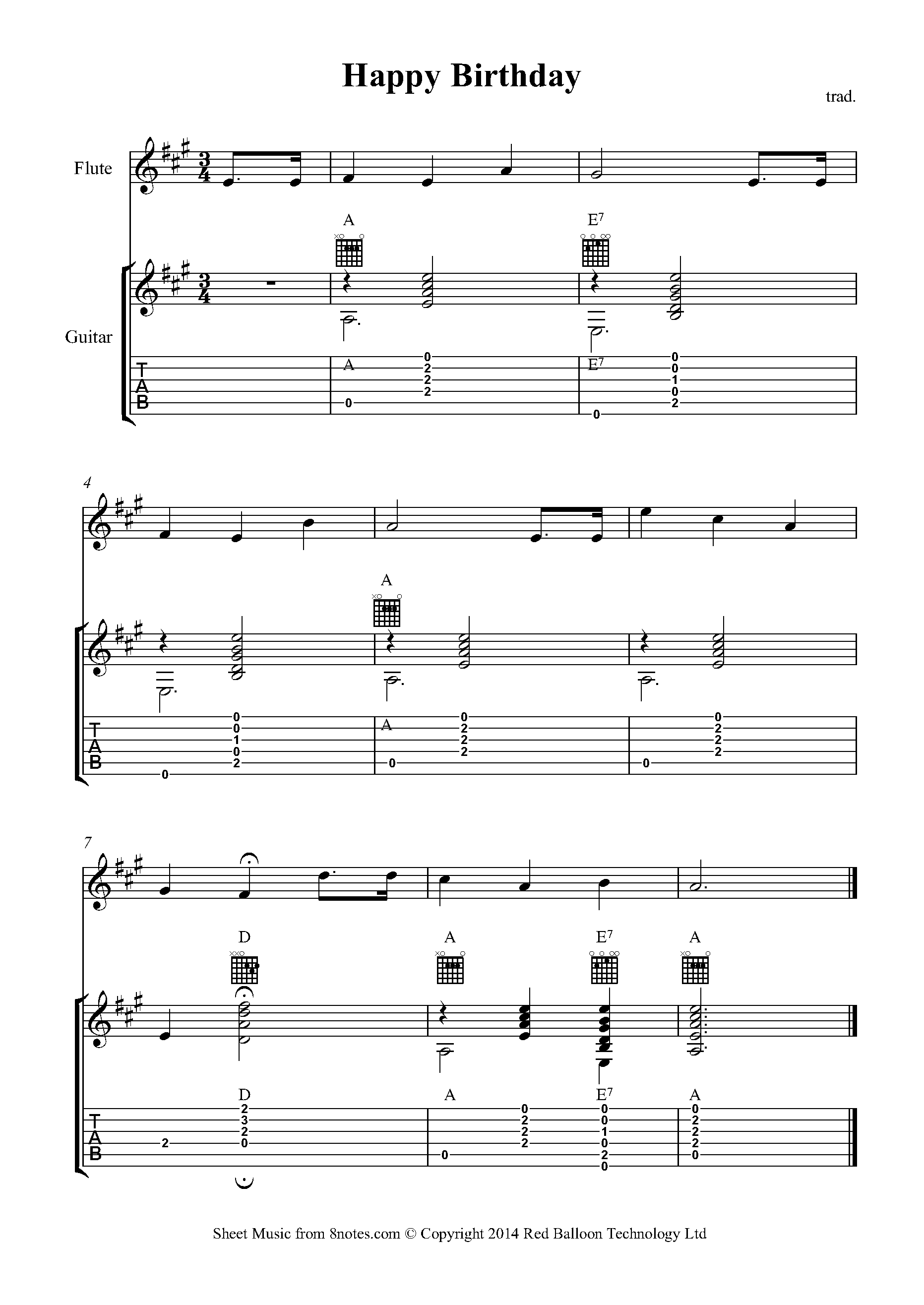 Happy Birthday To You Sheet Music For Guitar Flute Duet 8notes Com