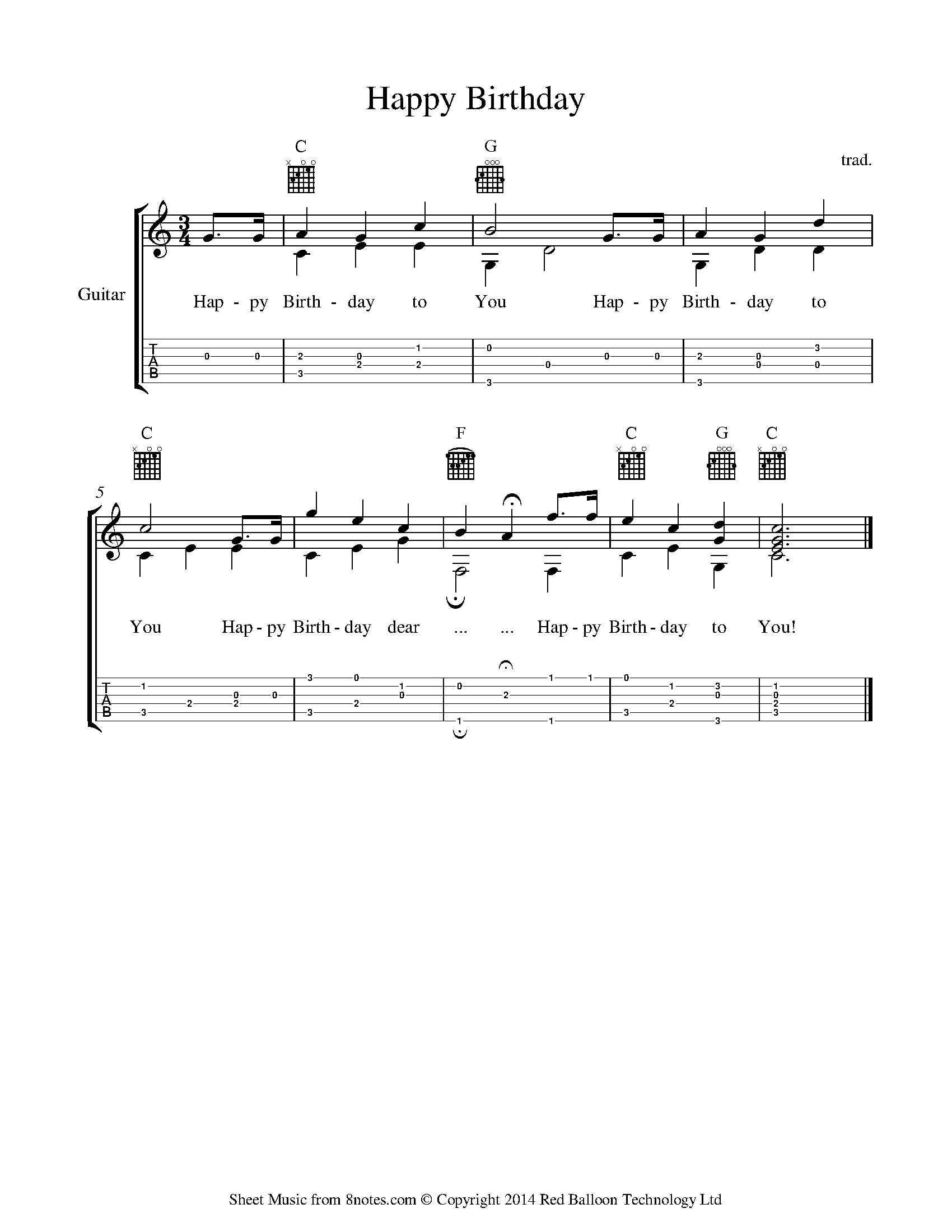Happy Birthday To You Sheet Music For Guitar 8notes Com