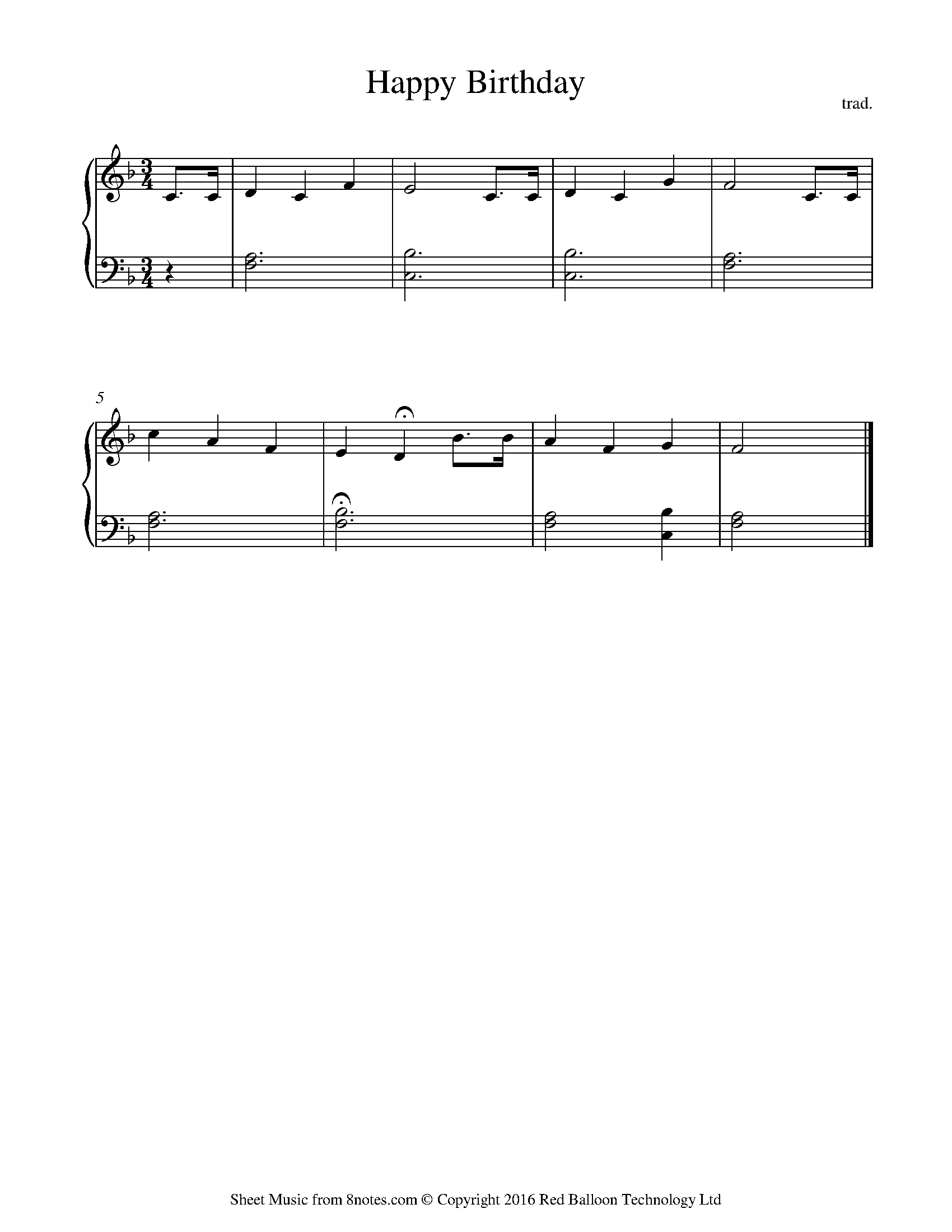 Happy Birthday To You Sheet Music For Piano 8notes Com