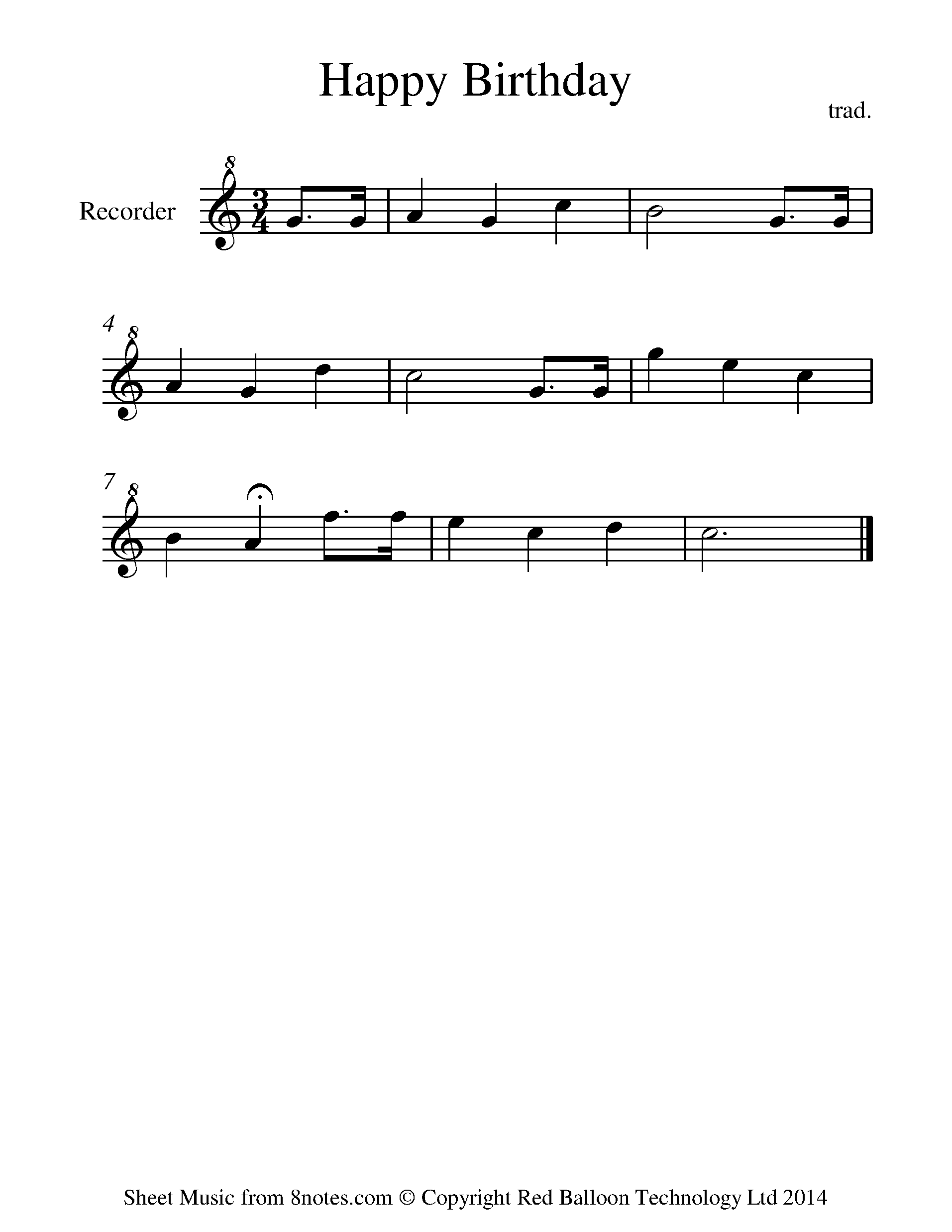 Happy Birthday Sheet Music For Recorder 8notes Com