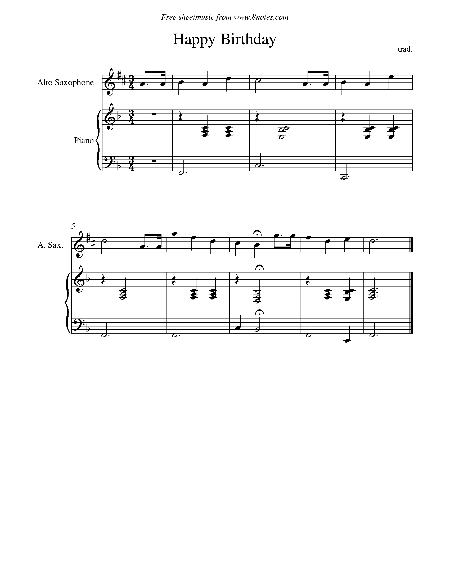 Happy Birthday Sheet Music For Saxophone 8notes Com