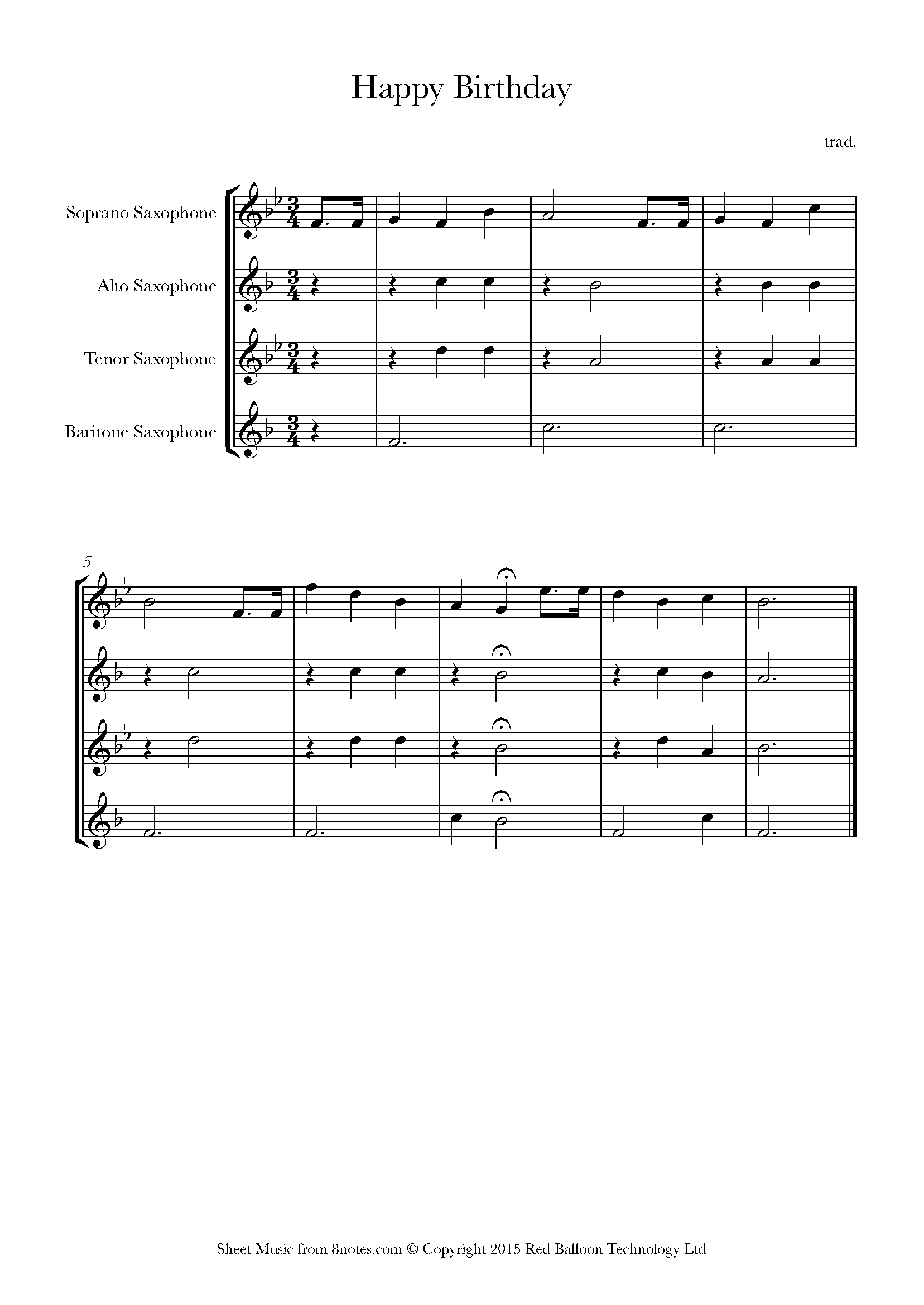 Happy Birthday To You Sheet Music For Saxophone Quartet 8notes Com