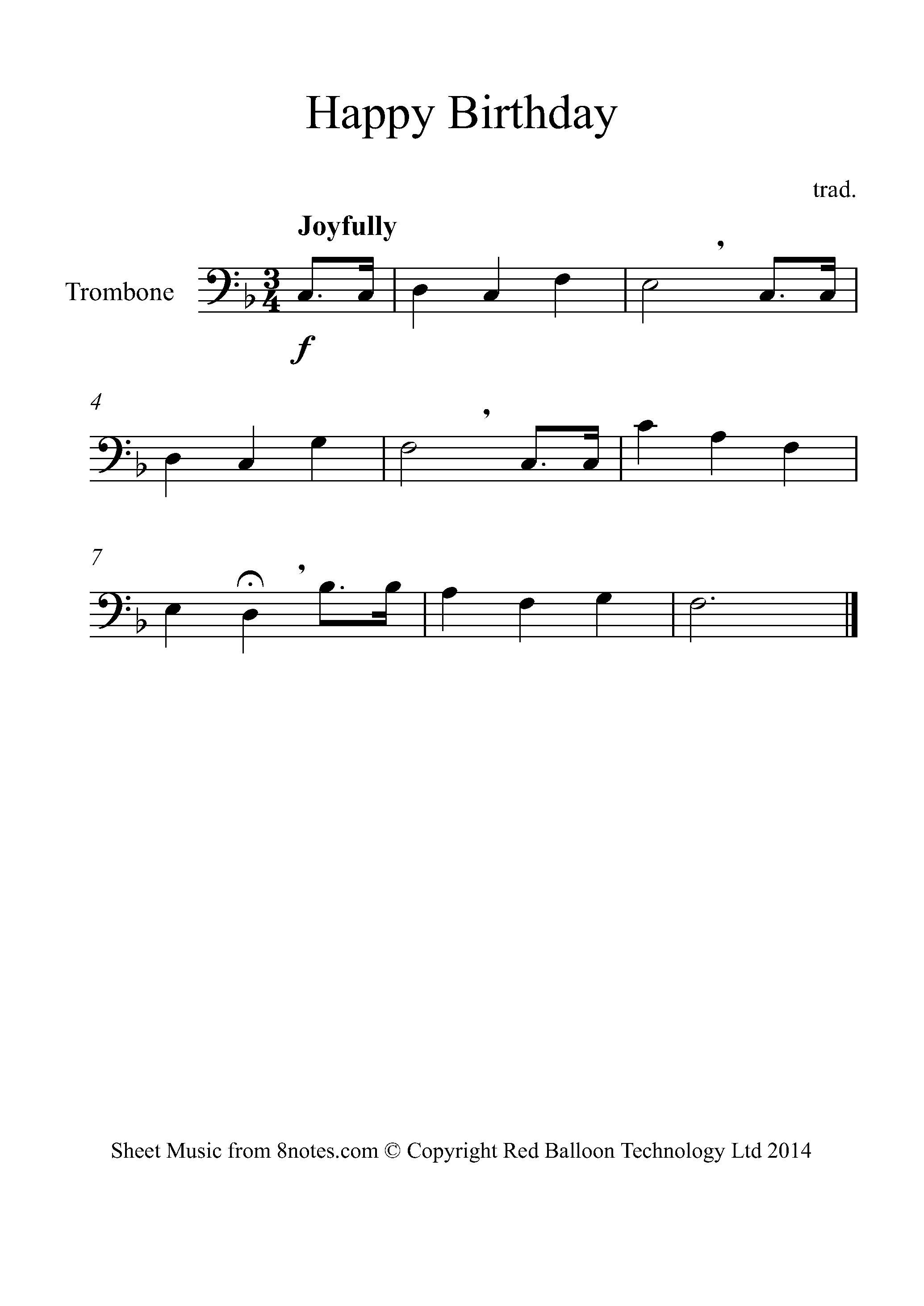 Happy Birthday Sheet Music For Trombone 8notes Com