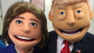 Hillary Clinton and Donald Trump as the puppets