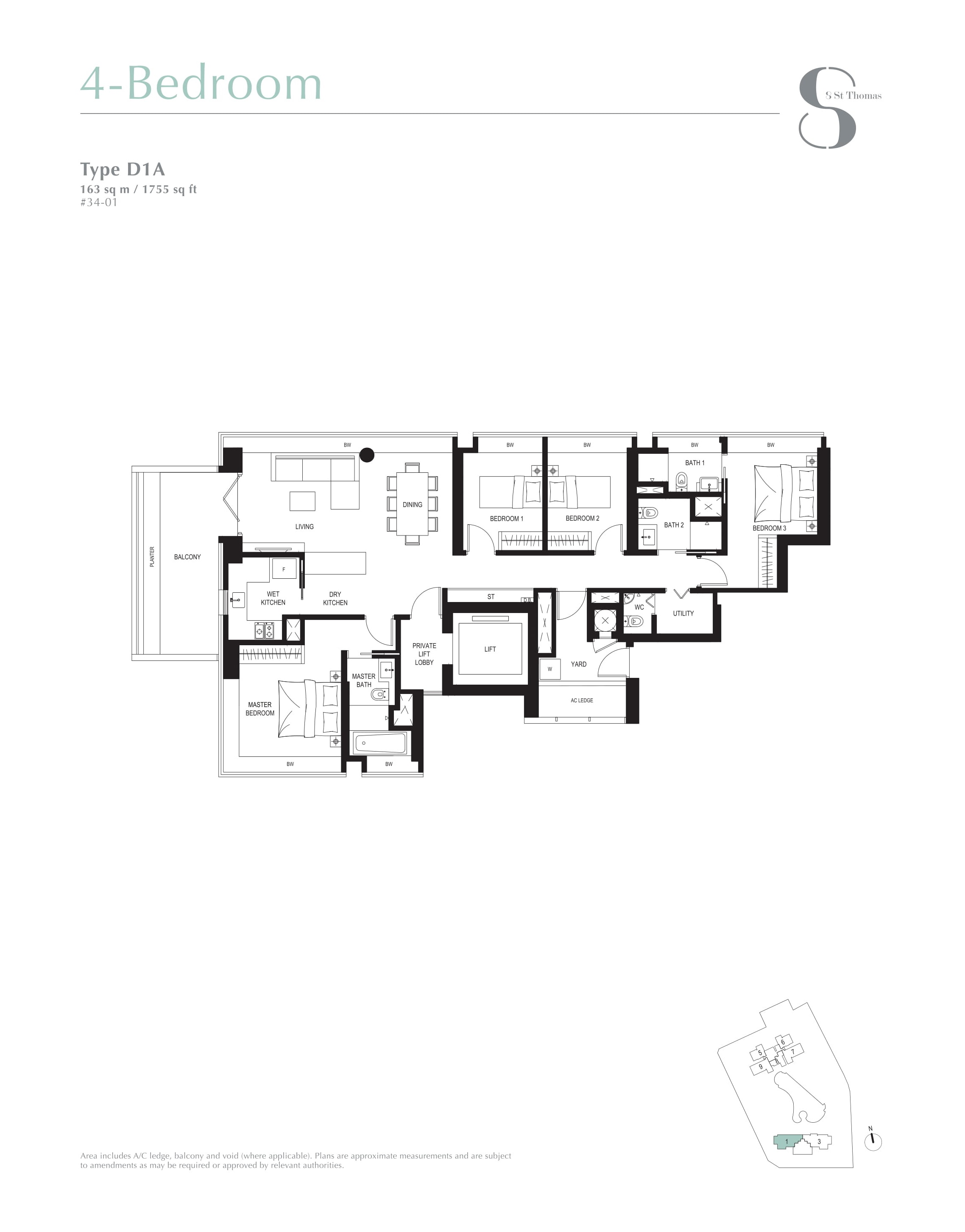 8 St Thomas 4 Bedroom Floor Plans Type D1A