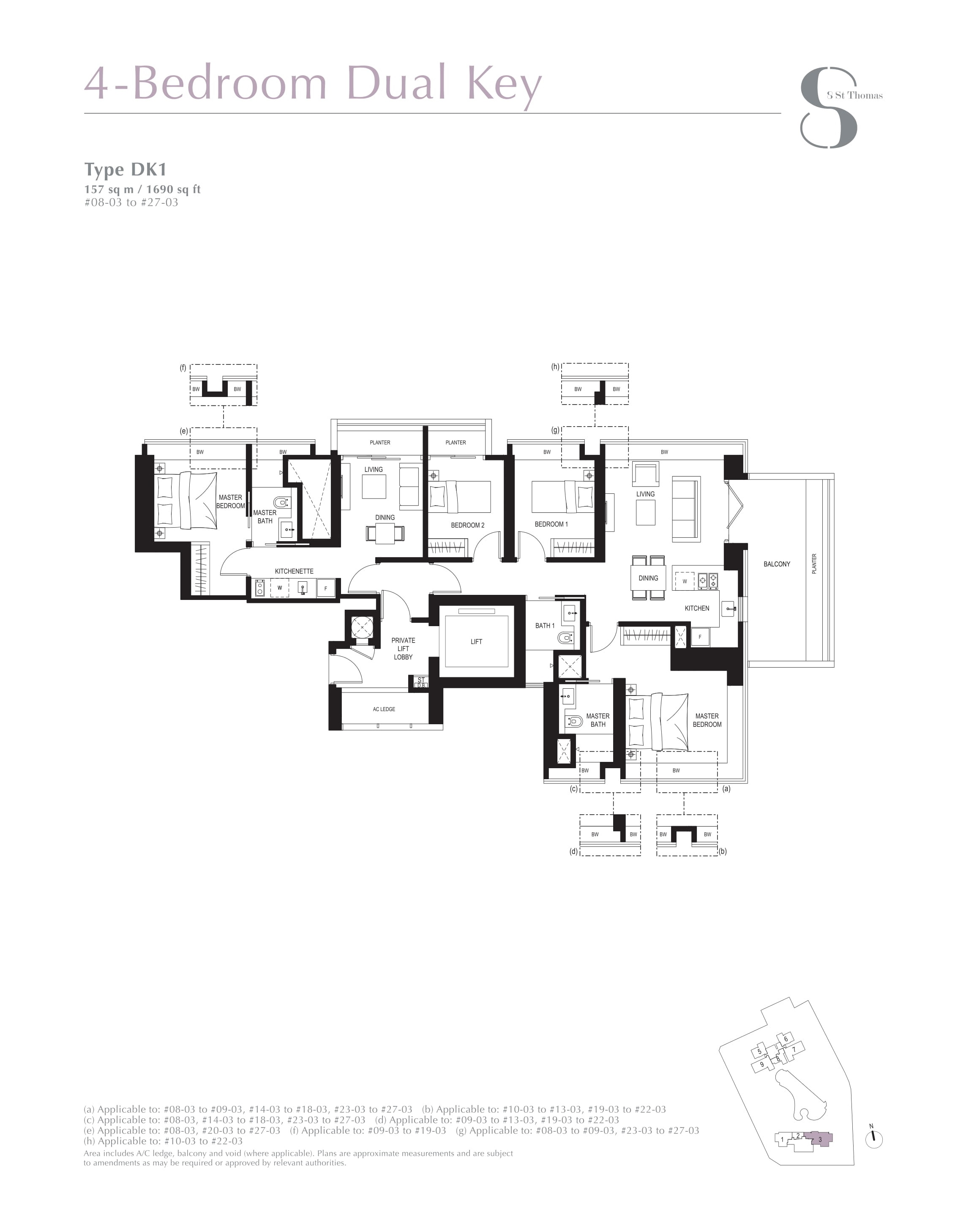 8 St Thomas 4 Bedroom Dual Key Floor Plans Type DK1