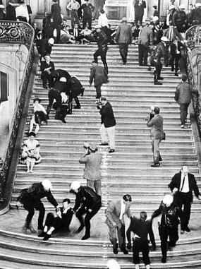 A scene from the San Francisco City Hall HUAC riots.