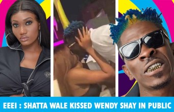 Shatta Wale and Wendy Shay captured on camera kissing.