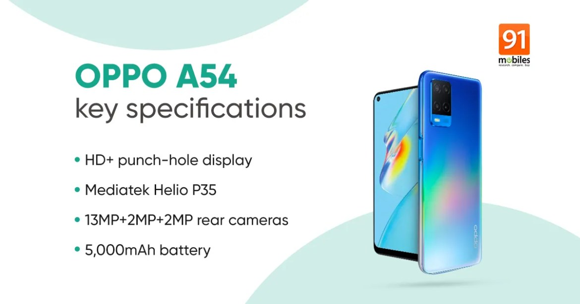 OPPO A54 launched in India with 5,000mAh battery, up to 6GB RAM, and more:  price, specifications | 91mobiles.com
