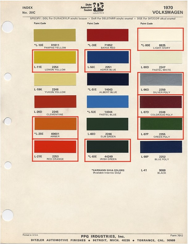 Interior 1964 Ford Color Chart