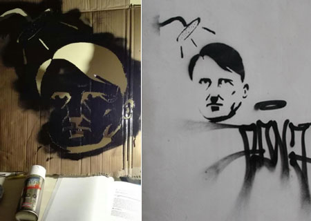 ENNA: Murales con il volto di hitler, denunciato un giovane