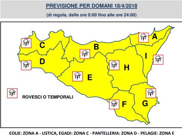 Allerta gialla domani per tutta la Sicilia, il bollettino della protezione civile