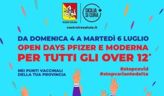 """VACCINI IN SICILIA, DA DOMANI FINO AL 6 LUGLIO NUOVO """"OPEN DAY"""" DAI 12 ANNI  IN SU - 95047.it"""