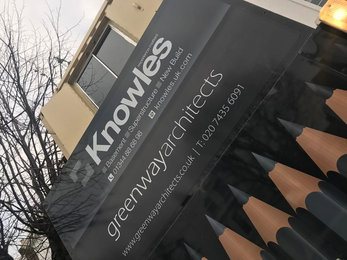 989 design bespoke printed hoarding in north london