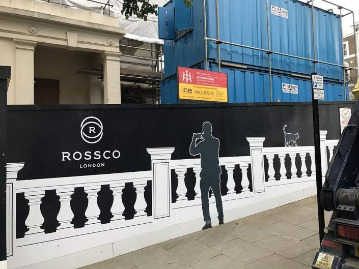 989 design bespoke printed hoarding in south london