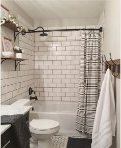 Beautiful Black And White Shower Curtains Design Ideas 64