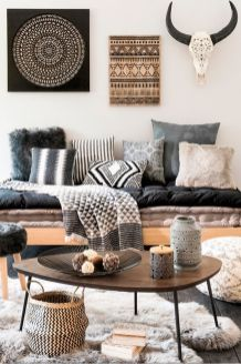 Modern Rustic Bohemian Living Room Design Ideas 12