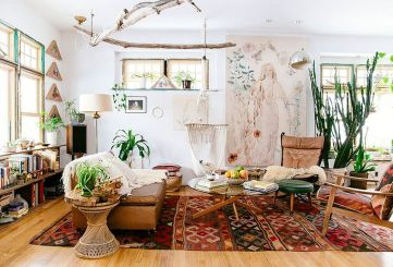 Modern Rustic Bohemian Living Room Design Ideas 18