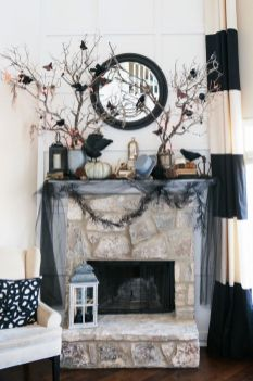 Scary But Classy Halloween Fireplace Decoration Ideas 50