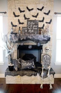 Scary But Classy Halloween Fireplace Decoration Ideas 85