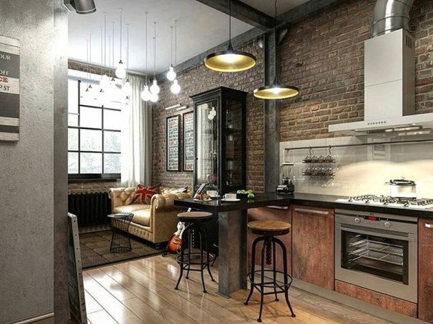 Stylish Rustic Kitchen Apartment Decoration Ideas 34