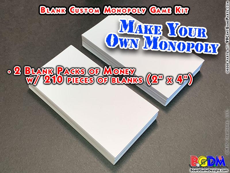 Blank Custom Monopoly Game Kit: Money