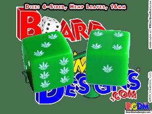 6 sided Hemp Leaves Pot Marijuana dice, d6