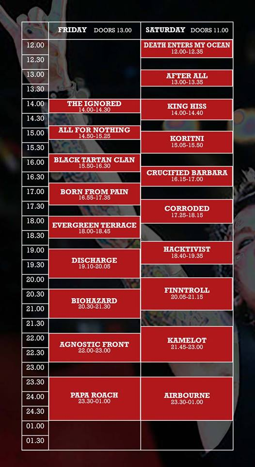 Masters@Rock 2014 Timetable