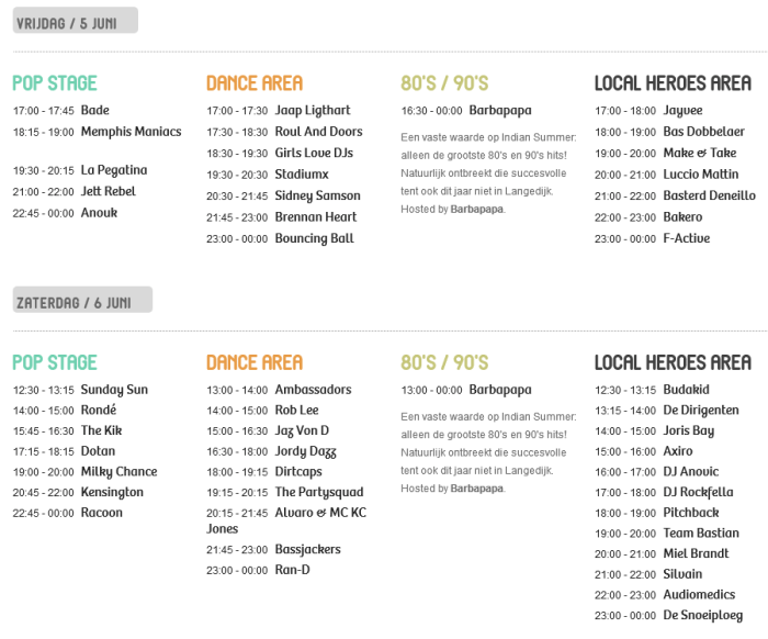 Timetable Indian Summer Festival 2015