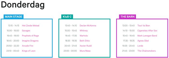 Donderdag affiche en timetable Rock Werchter 2017 compleet