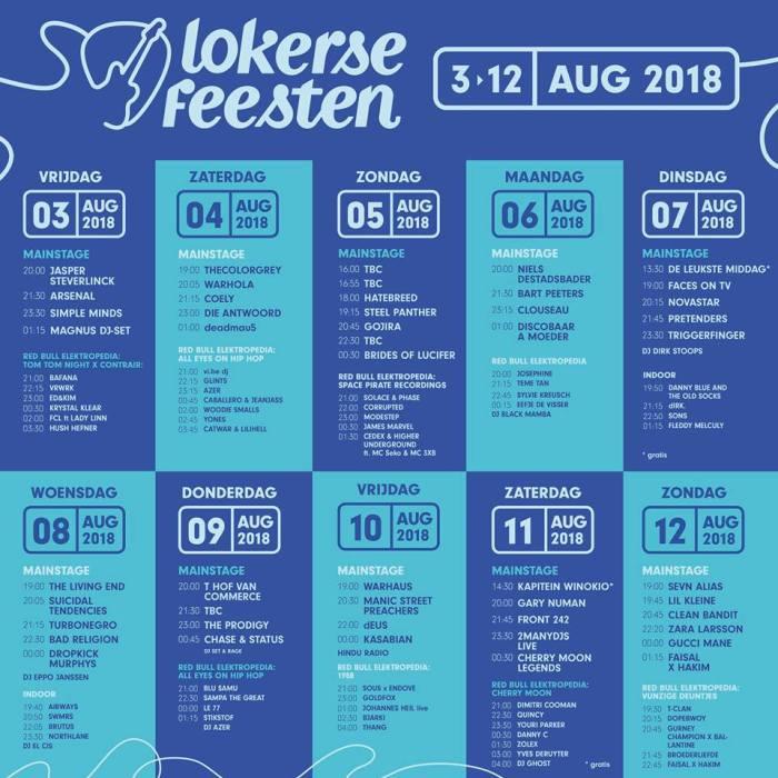 Uurschema Lokerse Feesten 2018