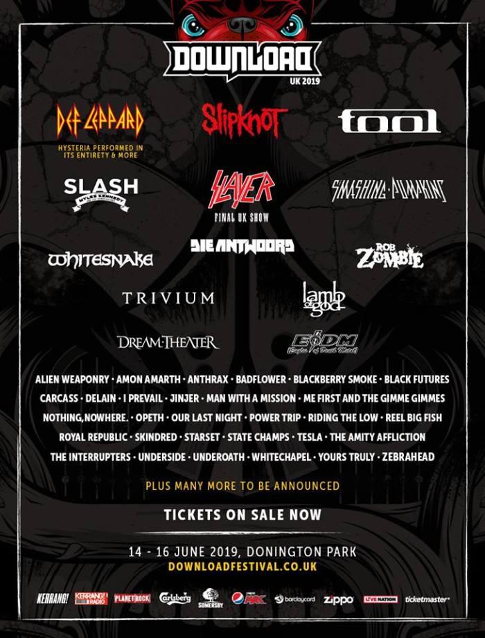 Slayer, The Smashing Pumpkins en meer naar Download Festival 2019
