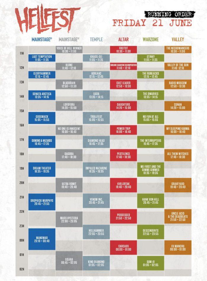 Hellfest 2019 presenteert timetable Friday 21 June