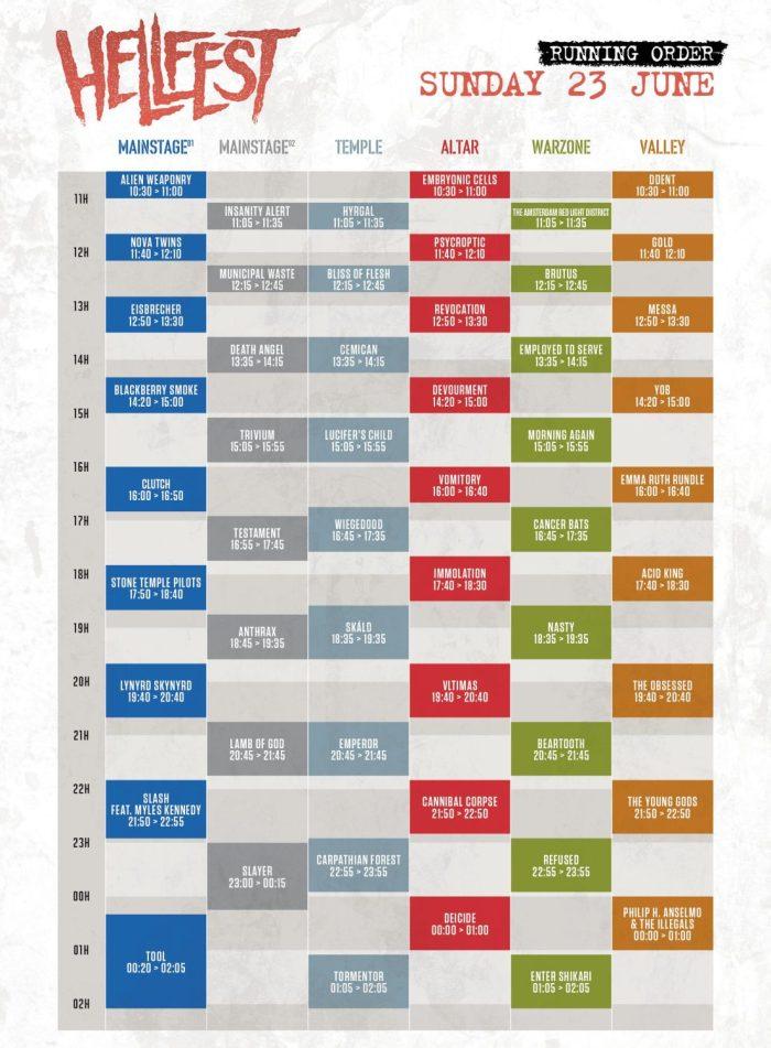 Hellfest 2019 presenteert timetable Sunday 23 June